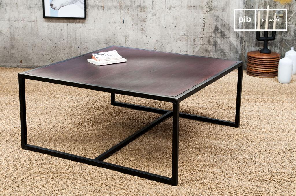 Smoke salontafel houten tafel met een metalen frame pib - Decoratie tafel basse ...