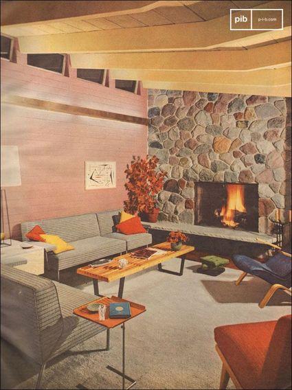 1953 Moderne Woonkamer met Stenen Openhaard -