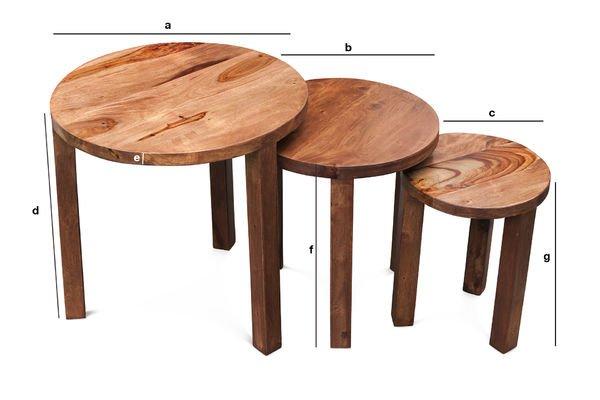 Productafmetingen 3-delige Roza tafel