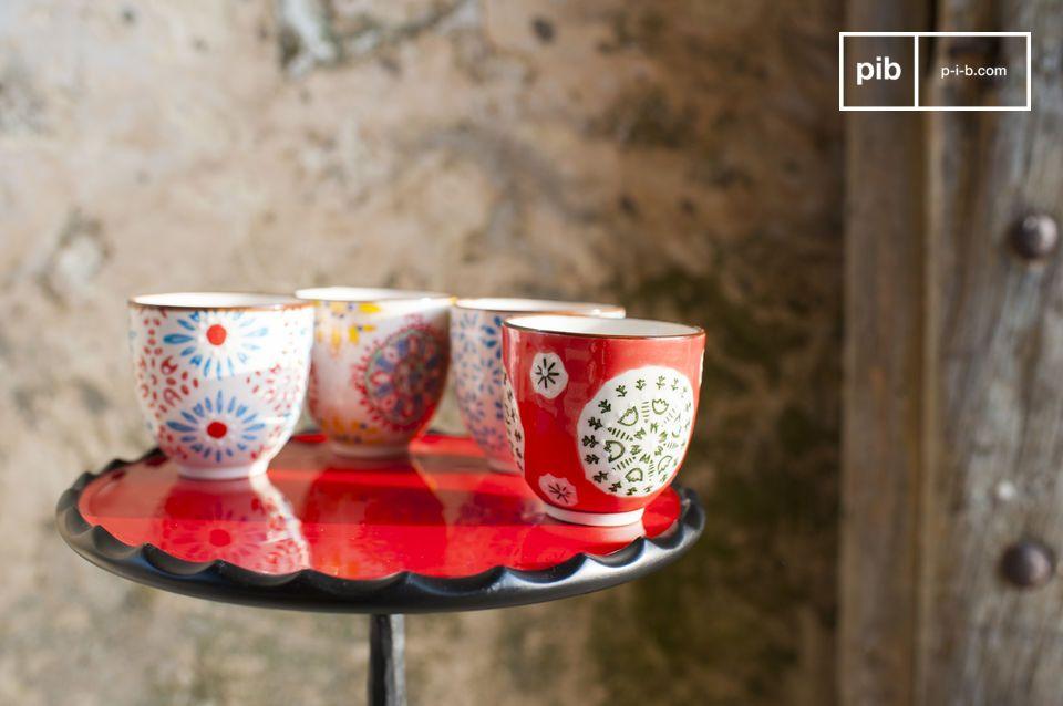 De vier prachtige Tzigane espresso kopjes maken je koffie moment met je dierbaren nog leuker en