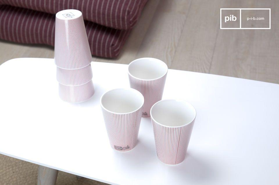 Deze set bestaat uit 6 elegante porseleinen kopjes die je tafel helemaal compleet maken