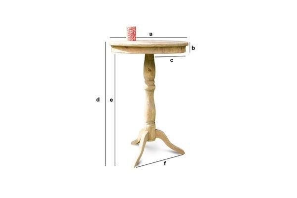 Productafmetingen Adèle houten tafel