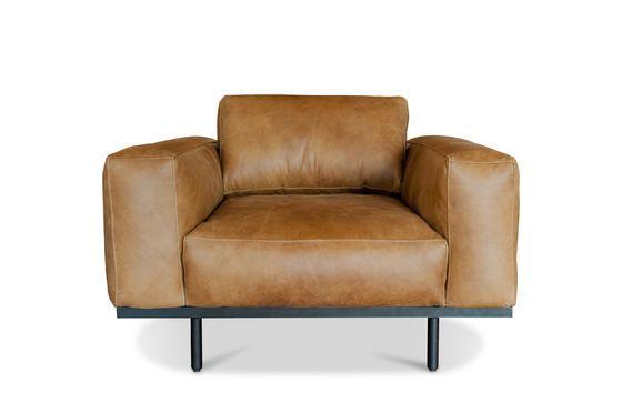 Amandel fauteuil in bruin leer Productfoto