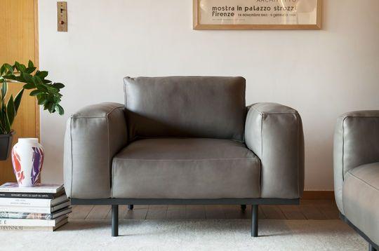 Amandel fauteuil in grijs leer
