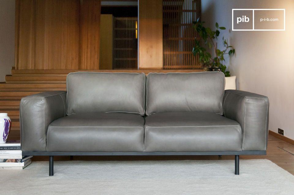 Amandel grijze lederen sofa