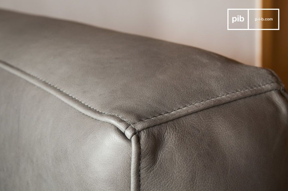 Amandel grijze lederen sofa - 1
