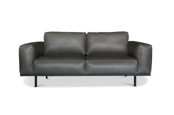 Amandel grijze lederen sofa Productfoto