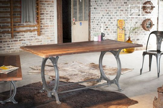 Antieke teakhouten tafel Tonnel