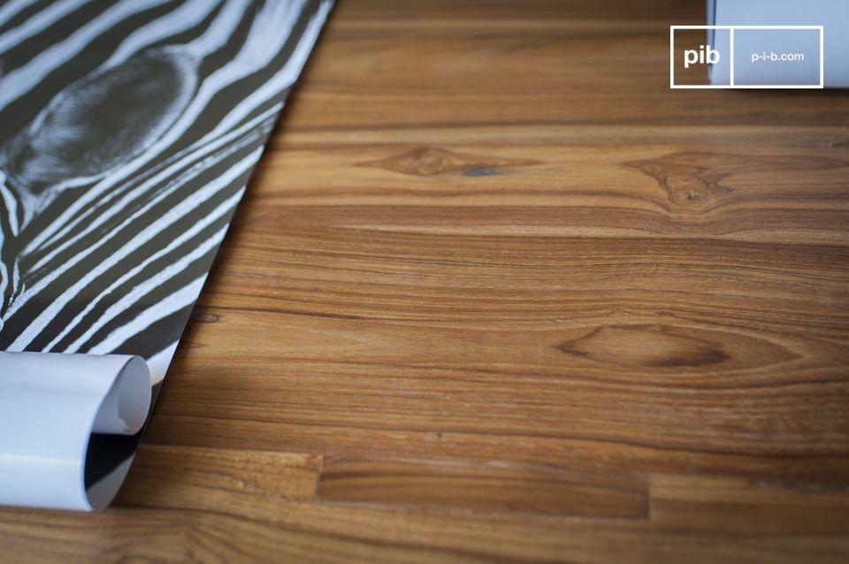 Een modulaire tafel die hardhout en vintage industriële stijl combineert