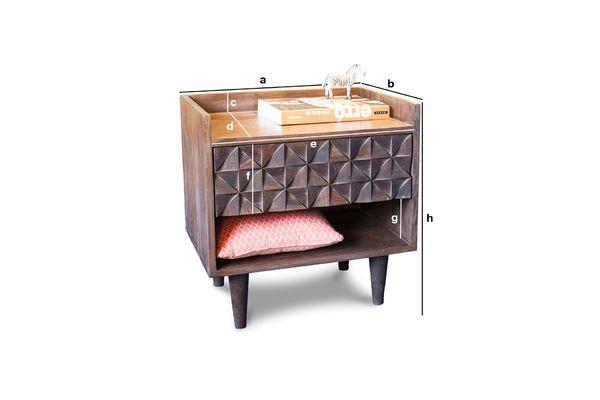 Productafmetingen Balkis houten nachtkastje