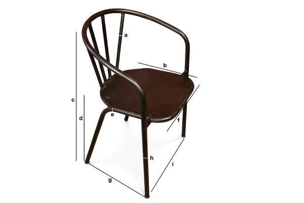 Productafmetingen Brienon metalen stoelen