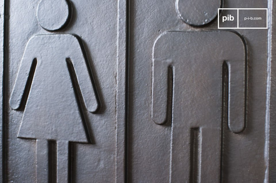 Dit metalen bordje zal je gasten helpen om de wc te vinden