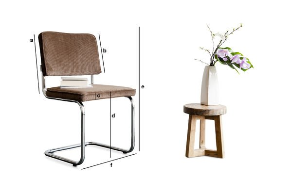 Productafmetingen Bruine Ridge Rib stoel