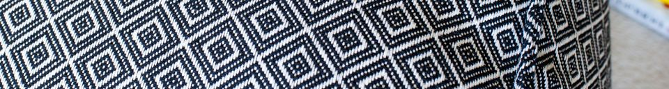 Benadrukte materialen Cabourg grote zwart-witte poef