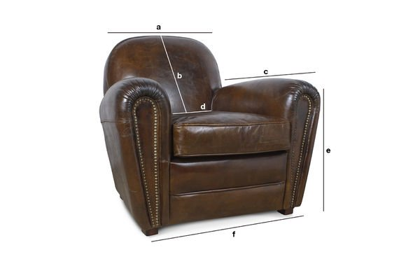Productafmetingen Cigar Club leren fauteuil