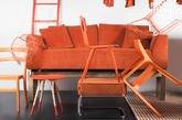Oranje Dakota sofa met verwijderbaar omhulsel