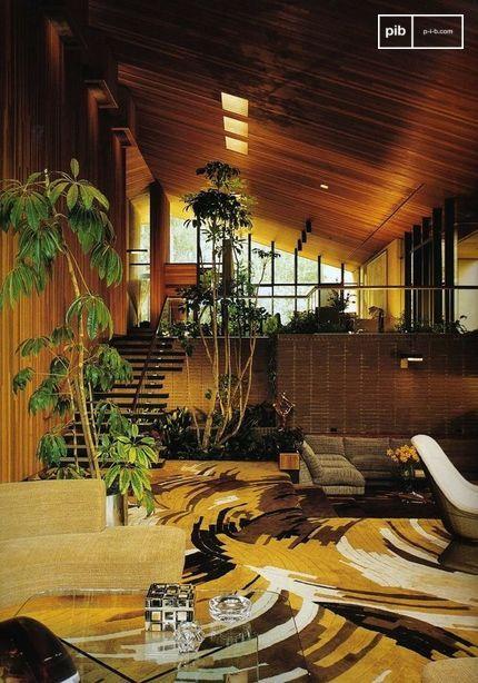 De mengeling van vele texturen en materialen is een kenmerk van de jaren 1970.