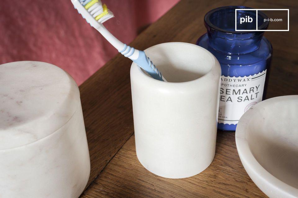 Een pennen houder of een tandenborstel houder, de elegantie van lichtgevend marmer
