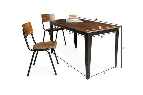 Productafmetingen Doinel tafel