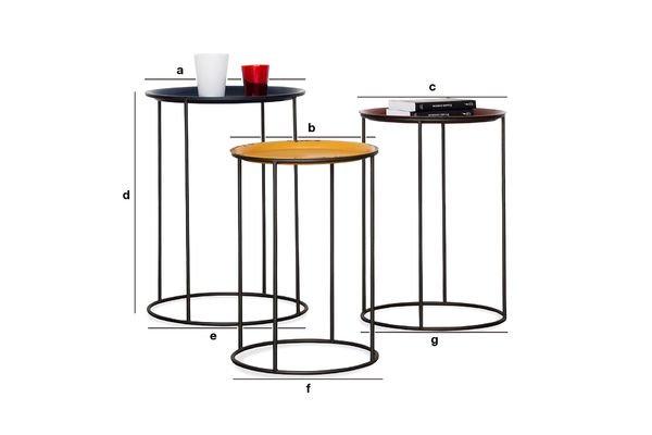 Productafmetingen Driekleurige Gigogne tafel