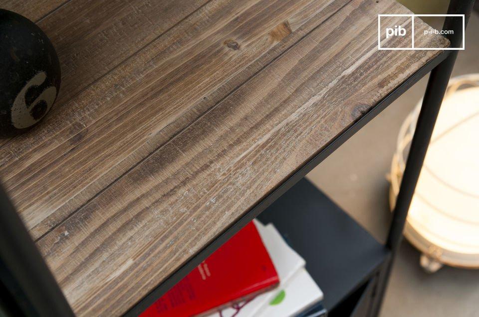 De basis is gemaakt van staal en de planken zijn gemaakt van robuust en duurzaam hout om je boeken