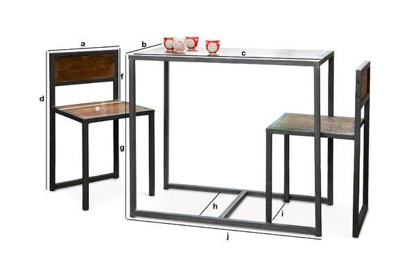 Productafmetingen Finn tafel en stoelen set