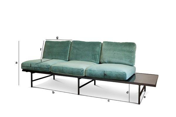 Productafmetingen Fluwelen en marmeren sofa Cathy