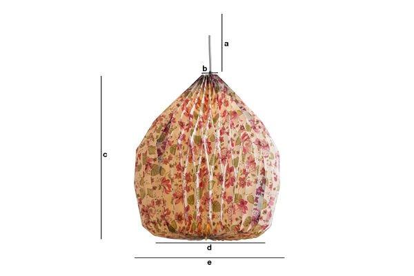 Productafmetingen Gebloemde origami hanglamp