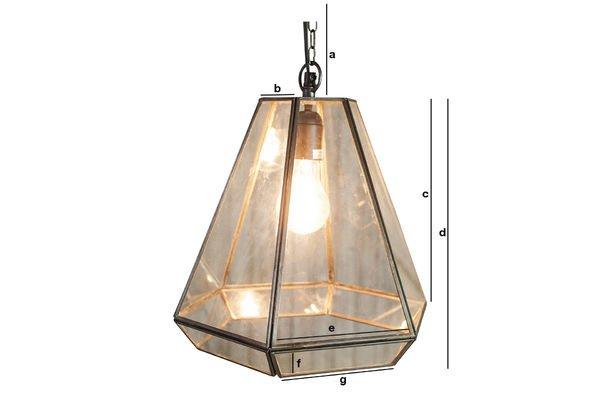 Productafmetingen Glazen Trapèze hanglamp