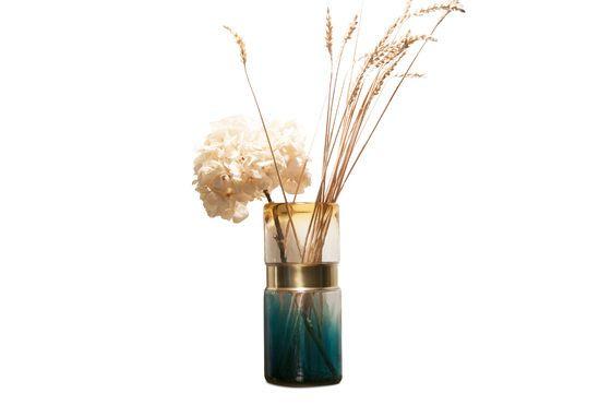 Glazen vaas met koperen riem Productfoto