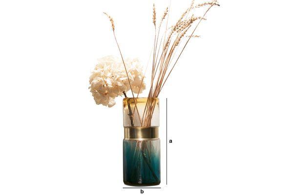 Productafmetingen Glazen vaas met koperen riem