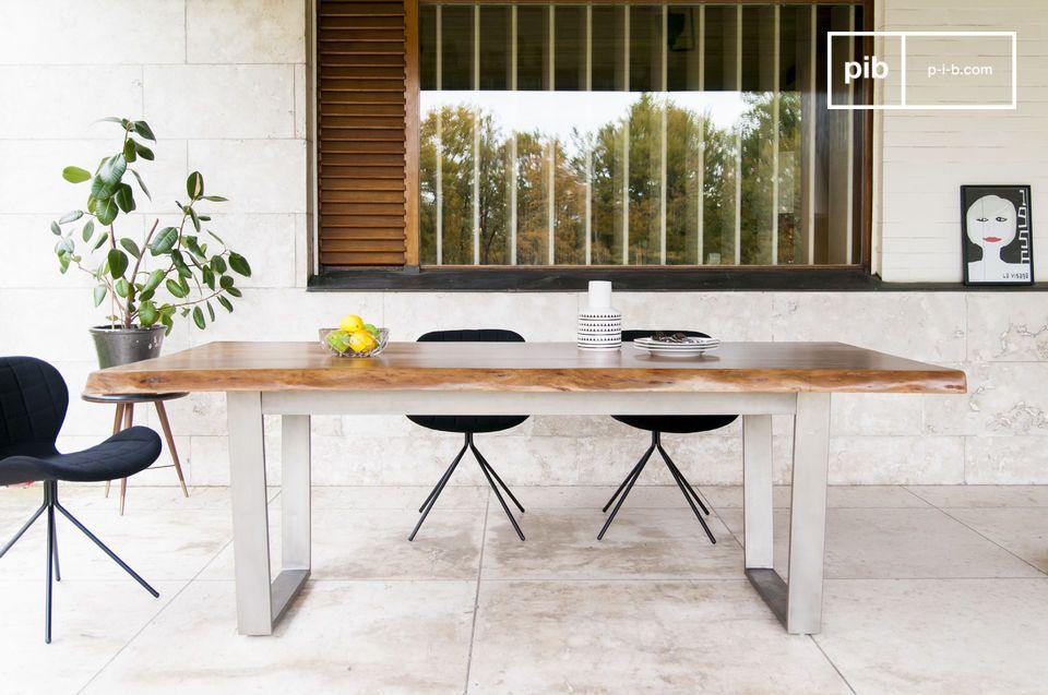 Grote Houten Tafels : Grote avallan tafel hoekig metalen frame pib