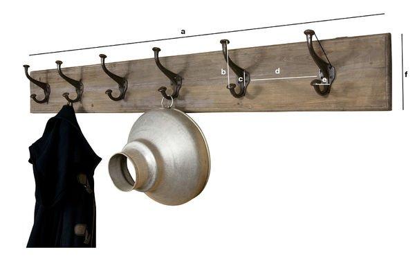 Productafmetingen Grote kapstok van hout en metaal