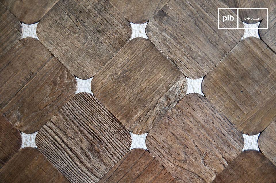 Houten vierkantjes met afgeronde hoeken die het licht subtiel doorlaten