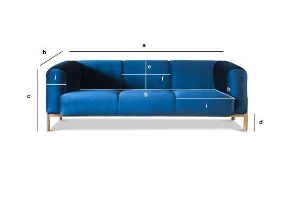 Productafmetingen Grote Viela Velvet Sofa