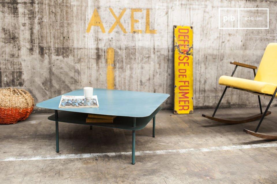 Dit metalen meubelstuk gebruikt contouren en kleuren die je doen denken aan de jaren \'50 voor een