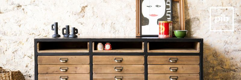 Industriele dressoir, ladekasten en sidetables