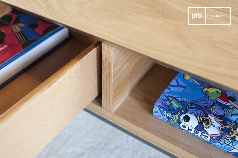Praktisch met de twee grote lades waar je tijdschriften en de afstandsbediening in kan opbergen