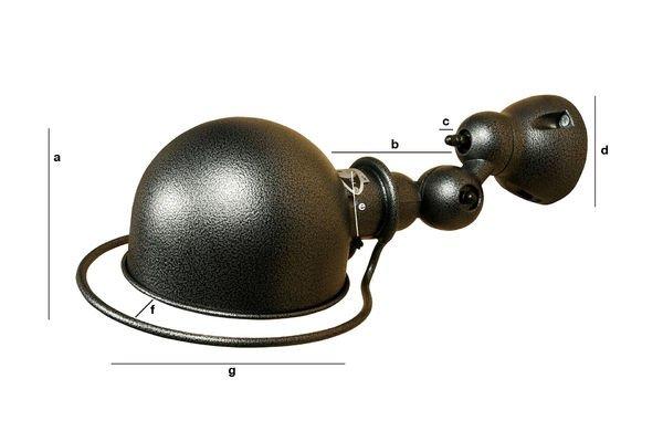 Productafmetingen Jieldé Loft wandlamp hammered finish