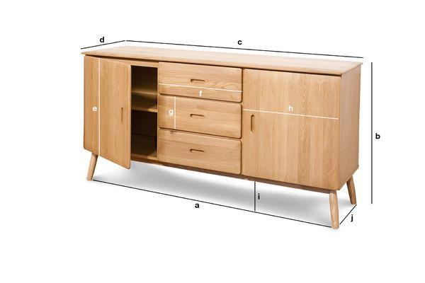Productafmetingen Kadrell eiken dressoir