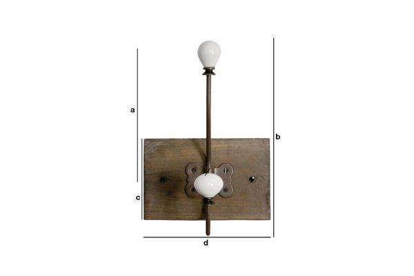 Productafmetingen Kapstok met keramische dubbele haak