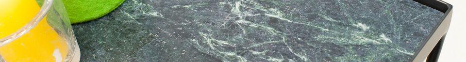 Benadrukte materialen Kleine Bumcello tafel in groen marmer