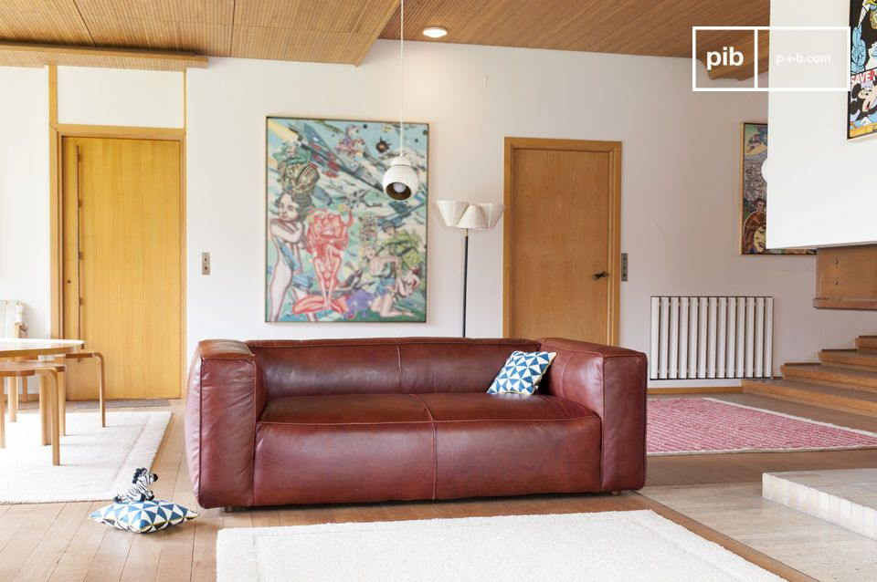 Een uitzonderlijke vintage lederen sofa
