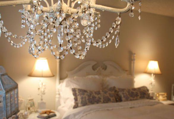 Kroonluchter met parels slaapkamer