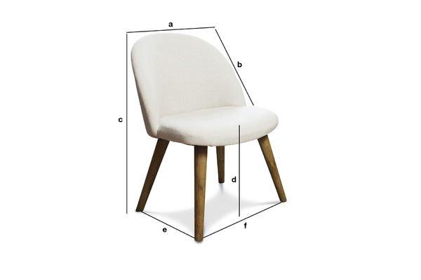 Productafmetingen Lear ecru stoel