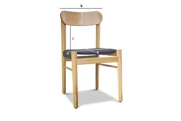 Productafmetingen Lichte houten stoel Elena