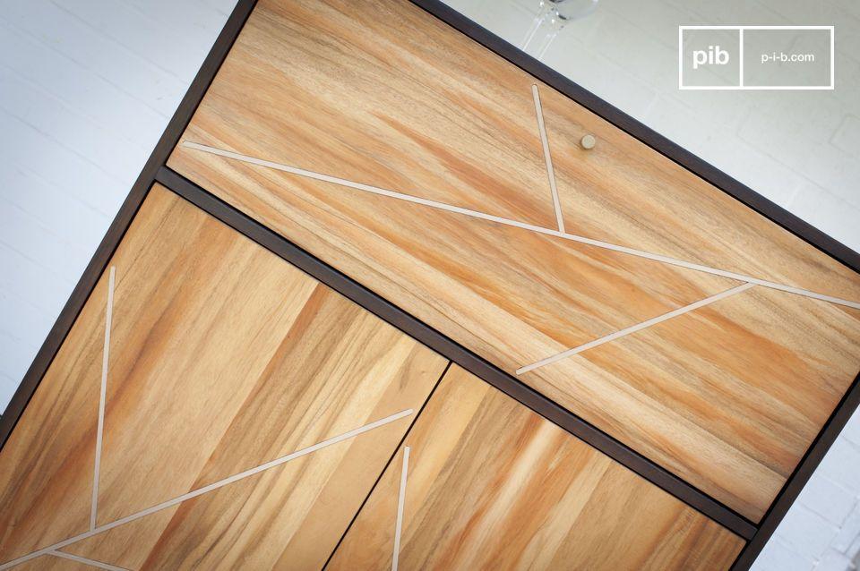 De Linéamassief houten kast vertoont een zeer grafische schoonheid