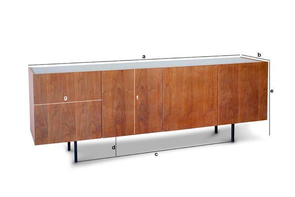 Productafmetingen Lovisa marmer en houten dressoir