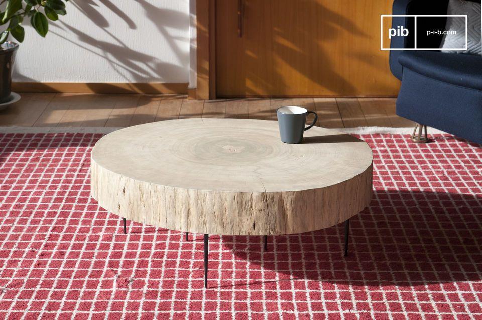 De Luka natuurlijke boomstam salontafel overtuigt door zijn diep atypische karakter