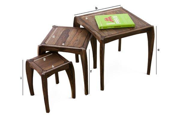 Productafmetingen Luna trio tafels